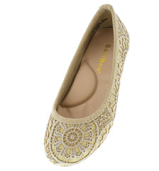 BLAST06K GOLD CROCHET KIDS BALLET FLAT - Wholesale Fashion Shoes