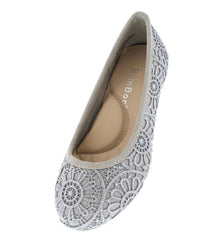 BLAST06K SILVER CROCHET KIDS BALLET FLAT - Wholesale Fashion Shoes