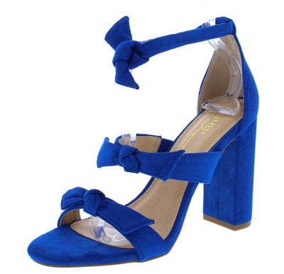 Bliss Blue Suede Knotted Tri Strap Open Toe Block Heel - Wholesale Fashion Shoes