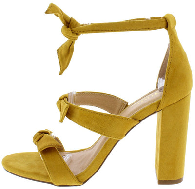 Bliss Mustard Suede Knotted Tri Strap Open Toe Block Heel - Wholesale Fashion Shoes