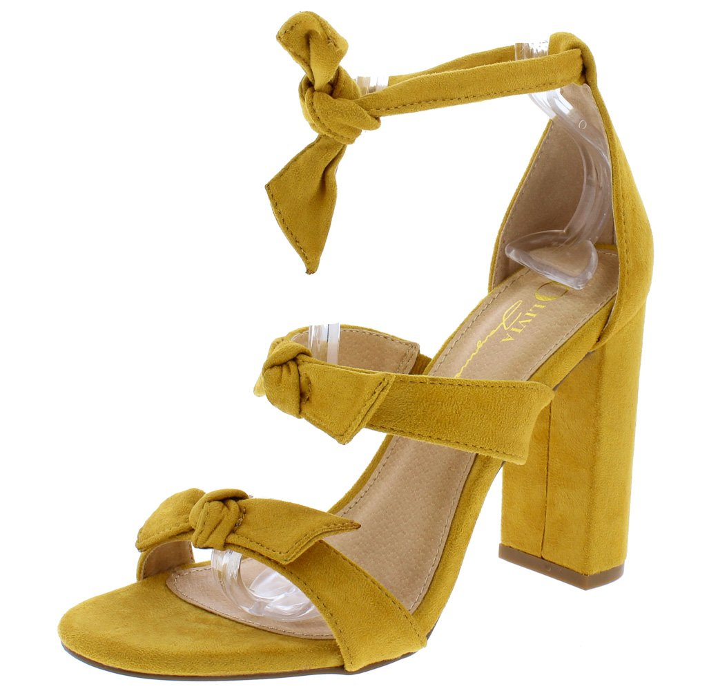 7c42e28fee Bliss Mustard Suede Knotted Tri Strap Open Toe Block Heel - Wholesale  Fashion Shoes