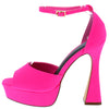 Anna087 Pink Peep Toe Ankle Strap Platform Flared Heel - Wholesale Fashion Shoes