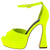 Anna087 Yellow Peep Toe Ankle Strap Platform Flared Heel