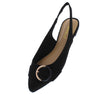 Blog53 Black Buckle Pointed Toe Slingback Mule Flat - Wholesale Fashion Shoes