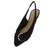 Blog53 Black Buckle Pointed Toe Slingback Mule Flat