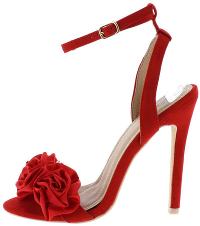 Blossom01 Red Rosette Open Toe Ankle Strap Slingback Heel - Wholesale Fashion Shoes