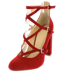 BLOSSOM08 DARK RED ALMOND TOE MULTI STRAP CRISSCROSS CHUNKY HEEL - Wholesale Fashion Shoes