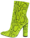 Boas Neon Yellow Snake Pointed Toe Extended Ankle Boot - Wholesale Fashion Shoes