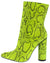 Boas Neon Yellow Snake Pointed Toe Extended Ankle Boot
