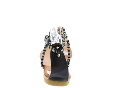 Boho01 Black Multi Color Tribal Women's Sandal - Wholesale Fashion Shoes