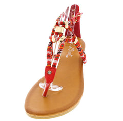 Boho01 Red Multi Color Tribal Women's Sandal - Wholesale Fashion Shoes