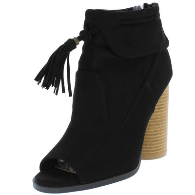 Bondi09 Black Suede Pu Tassel Round Stacked Heel Ankle Boot - Wholesale Fashion Shoes