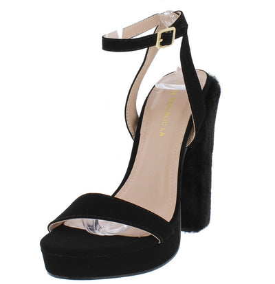 Boni Black Open Toe Women's Furry Heel - Wholesale Fashion Shoes