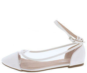 e356167196f95 Bonita11 White Pointed Toe Ankle Strap Clear Flat - Wholesale Fashion Shoes