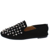 Pearl123 Black Studded Square Toe Slide On Loafer Flat - Wholesale Fashion Shoes