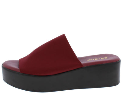 Bonus02m Burgundy Open Toe Platform Mule Slide Wedge - Wholesale Fashion Shoes