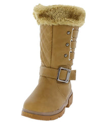 BONYK COGNAC KIDS FUZZY QUILTED BUCKLE SNAP BOOT - Wholesale Fashion Shoes