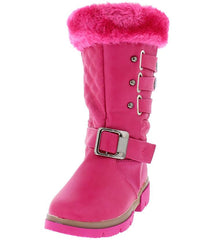 BONYK FUCHSIA FUZZY QUILTED BUCKLE SNAP BOOT - Wholesale Fashion Shoes