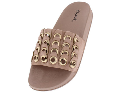 Booboo60a Nude Open Toe Tiered Grommet Slide Sandal - Wholesale Fashion Shoes