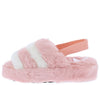Boo Blush Beige Faux Fur Open Toe Slingback Sandal - Wholesale Fashion Shoes