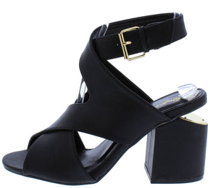 001b03a1b8c Bosa03 Black Pu Peep Toe Cross Wrap Sliced Chunky Heel - Wholesale Fashion  Shoes
