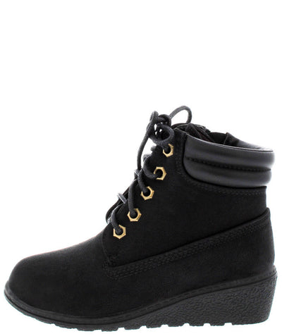 Boston21k Black Kid's Wedge Utility Boot - Wholesale Fashion Shoes