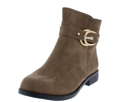 Kaylee078 Khaki Suede Rhinestone Buckle Ankle Boot - Wholesale Fashion Shoes