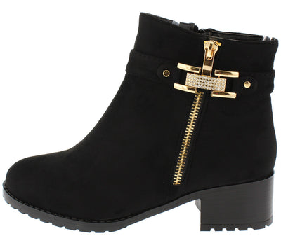 Stella09c Black Suede Single Strap Rhinestone Buckle Zipper Detailing Lug Ankle Boot - Wholesale Fashion Shoes