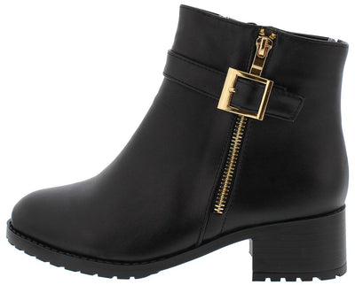 Bot35003 Black Pu Gold Detailing Lug Sole Boot - Wholesale Fashion Shoes