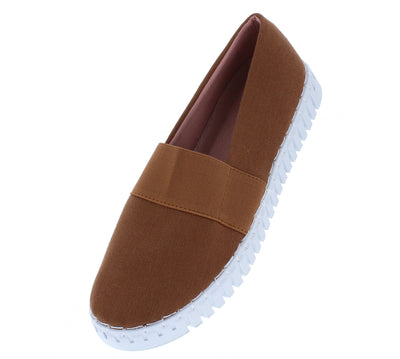 Bounce01s Mocha Stretch Round Toe Slide On Sneaker Flat - Wholesale Fashion Shoes