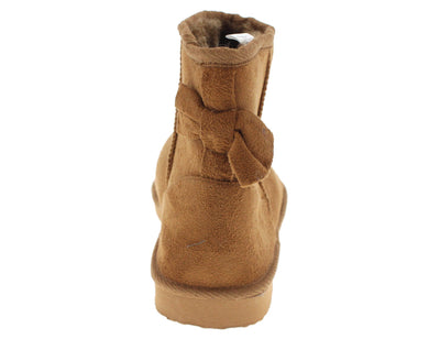 Bow1 Chestnut Faux Fur Bow Accented Boot - Wholesale Fashion Shoes