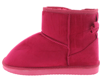 Bow1 Hot Pink Faux Fur Bow Accented Boot - Wholesale Fashion Shoes