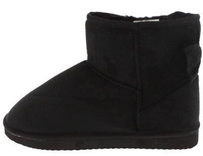 Bow1 Black Faux Fur Bow Accented Boot - Wholesale Fashion Shoes