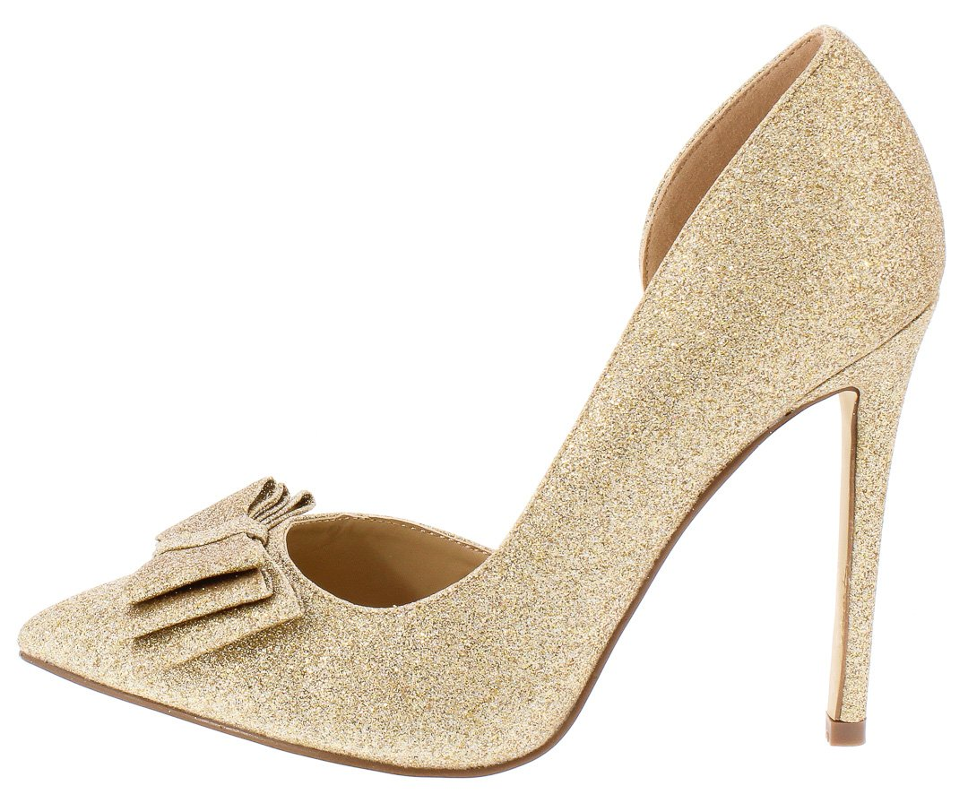 bf1584d81882 Bow1 Gold Glitter Pointed Toe Tiered Bow Half D'Orsay Pump Heel - Wholesale  Fashion