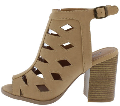 Brammer06 Tan Nubuck Pu Laser Cut Stacked Chunky Heel - Wholesale Fashion Shoes