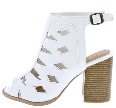 Brammer06 White Pu Laser Cut Stacked Chunky Heel - Wholesale Fashion Shoes