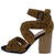 Brammer71 Camel Black Leopard Cross Strap Stacked Heel
