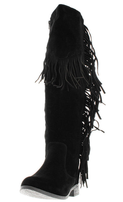 Brandibk1 Black Fringe Knee High Boot - Wholesale Fashion Shoes