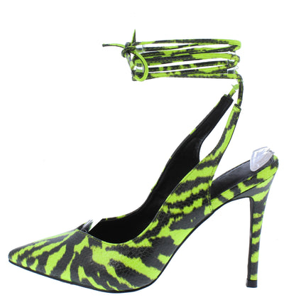 Deanna164 Lime Pointed Toe Ankle Wrap Stiletto Heel - Wholesale Fashion Shoes