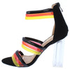 Breeze Black Multi Strap Open Toe Lucite Block Heel - Wholesale Fashion Shoes