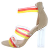 Breeze Nude Multi Strap Open Toe Lucite Block Heel - Wholesale Fashion Shoes