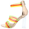 Breeze Rose Gold Multi Strap Open Toe Lucite Block Heel - Wholesale Fashion Shoes