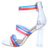 Breeze Silver Multi Strap Open Toe Lucite Block Heel - Wholesale Fashion Shoes