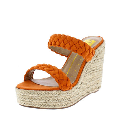 Brenda01 Orange Suede Pu Braided Open Toe Dual Strap Wedge - Wholesale Fashion Shoes