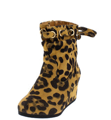 BRENDA13K LEOPARD LACE  UP TOP LOW WEDGE KIDS BOOT - Wholesale Fashion Shoes