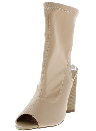 Brenna1 Nude Peep Toe Stretch Mid Calf Stacked Heel Boot - Wholesale Fashion Shoes