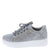 Briana01 Grey Perforated Lace Up Platform Sneaker Flat