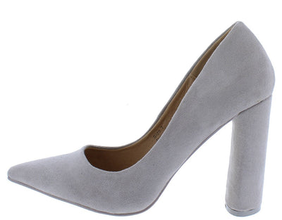 Brianna01 Grey Pointed Toe Block Heel - Wholesale Fashion Shoes