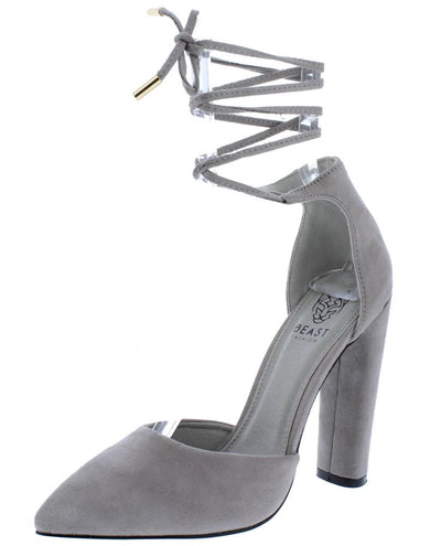 Brianna02 Grey Pointed Toe Ankle Wrap Block  Heel - Wholesale Fashion Shoes