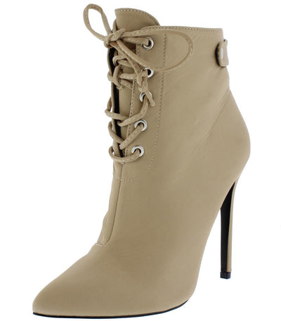 Brianna Nude Lace Up Stiletto Ankle Boot - Wholesale Fashion Shoes